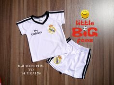 Real Madrid soccer jersey, T-shirt & Shorts Set, 0-3 m, 6-9 m, 12-18 m, 2-3 T, 4-5, 6-7 years, 8-9 years, 10-11 years, 12-13, 14 years
