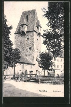old postcard: AK Budweis / Ceske Budejovice, Partie am Schanzturm Mountain City, Holiday Time, Old Postcards, City Buildings, Czech Republic, Towers, Prague, Picture Photo, Cities
