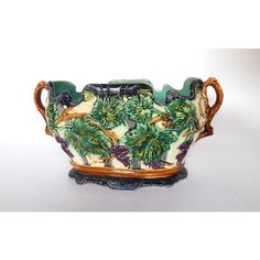 Antique French Majolica Jardiniere Exceptionally Large (€500) found on Polyvore