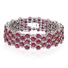 Ruby & Diamond Checkerboard Bracelet