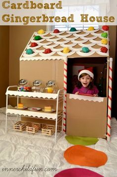 Life Sized Cardboard Gingerbread House DIY -- Great for inspiring plenty of imaginative play time fun this Winter! Kids can bake pretend cookies, serve up pretend hot cocoa, or maybe set up a pretend sweet shop. Lots of possibilities!