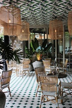 The tropical feeling of this place surrounds you with an accent of a patterned ceiling that is even more interesting than the floor.