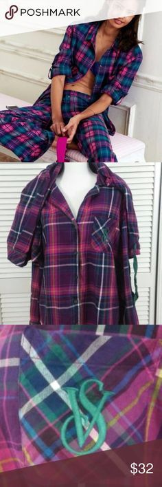 Victoria's Secret 2 pc plaid pajama set Victoria Secret plaid pajama two-piece set women's size medium in great condition.   No holes or stains or marks.  NO SIGN OF WEAR. Victoria's Secret Intimates & Sleepwear Pajamas