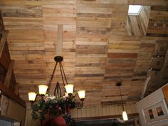 12 Recycled pallet wood ceiling ideas are very crucial for each household. First, we must create basics with the roof in which we can use a few pallet systems with best sections then we're able of linking timber pallet on those body. Pallet Boards, Pallet Wood, Wood Pallets, Ceiling Design, Ceiling Ideas, Ceiling Lights, Pallet Ceiling, Wood Ceilings, Pallet Projects