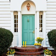painted front door - temporary solution until we can afford new doors! I'd go with black.