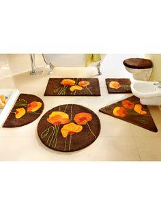 Badmatten met print van oranje bloemen