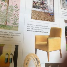 Our Nicholas chair featuring in Chelsea's Resident magazine this month. Simple Lines, Armchair, Colours, Magazine, Storage, Furniture, Design, Home Decor, Womb Chair