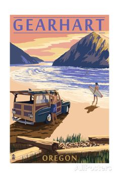 Gearhart, Oregon - Woody on Beach Print by Lantern Press at AllPosters.com