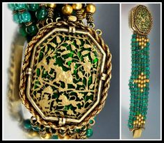 Antique Art Deco Chinoiserie glass bead bracelet with 14k gold. Via Diamonds in the Library's jewelry gift guide.