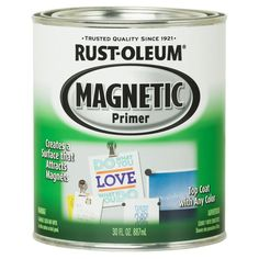 Rust-Oleum Flat Black Oil-based Enamel Paint (Actual Net Contents: oz) at Lowe's. Rust-Oleum Specialty Magnetic Primer is a base coat designed to create a surface that attracts magnets almost anywhere. Black Chalkboard Paint, Diy Chalkboard, Chalkboard Walls, Bob Ross, Magnetic Paint, Paint Primer, Black Oil, Enamel Paint, Cleaning