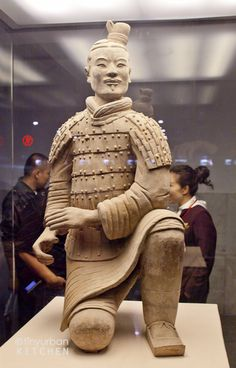 """Terracotta warriors depicting the army of Shi Huang Di, the First Emperor of China. This particular sculpture is known as the """"Lucky One"""" as it was the only warrior excavated that was found to be completely intact."""