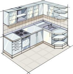 L-Shaped Kitchen Plans: Apartment-Sized L-Shaped Kitchen