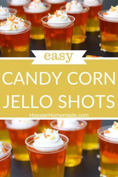 Candy Corn Jello Shots- these fun treats can be made with or without alcohol and are always the hit of the party! Make these for Fall or Halloween! Alcohol Jello Shots, Candy Corn Jello Shots, Making Jello Shots, Best Cocktail Recipes, Drink Recipes, How To Make Jello, Fun Cocktails, Drinks, Holiday Fun