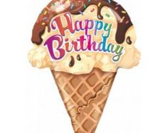 Ice Cream Cone Foil Balloon, 27 Inch Happy Birthday Balloon, Party Balloons, Party Decorations, Kids Party, Donut Party, Ice Cream Party by littlepartyeventco. Explore more products on http://littlepartyeventco.etsy.com