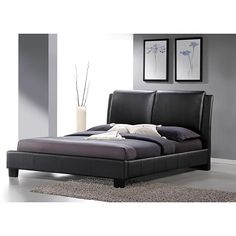 Baxton Studio Sabrina Black Upholstered Queen Size Platform Bed (Queen Size Bed-Black)