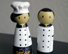 fireman peg doll | Chef Cook Wooden Peg Doll Figurine Couple with 3D Accessory and logos ...
