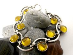 Olive Green Bracelet  Repurposed  Lucite & by ReTainReUse on Etsy, $22.00