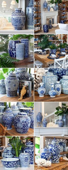 Blue and white dynasty ginger jars. This is my passion. I never have too many blue and white ginger jars~💕 Urban Deco, Blue Pottery, White Dishes, Chinoiserie Chic, Blue And White China, Blue Green, Blue Rooms, Ginger Jars, White Decor