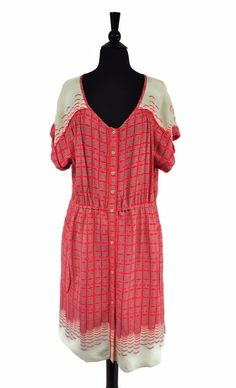 Maeve Anthropologie Red Women's Veronia Button Shirt Dress Size Large #Maeve #ShirtDress #Casual