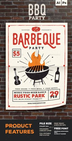 Barbeque Party Flyer Template PSD, Vector AI #design Download: http://graphicriver.net/item/barbeque-party-flyer/14491605?ref=ksioks