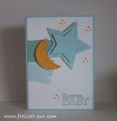 StampinUp!  Big Shot - Framelits Stern-Kollektion, Big Shot - Prägeform Streifen, zur Geburt, Mond&Sterne
