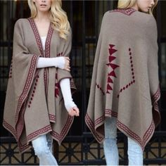 """1 HR SALESHINTA Knit poncho - WHITE This Diamond Knit Poncho gives a tribal feel with diamond patterns. Dimensions 55"""" x 41"""". 100% Acrylic.  Fabric 100% Acrylic. AVAILABLE IN MOCHA & WHITE Bellanblue Sweaters Shrugs & Ponchos"""