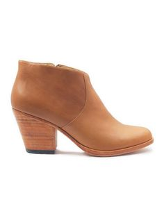 2a1bf86c428 Tan Leather Bootie    Wooden Heel    Fortress of Inca Adriana Coco Scotch