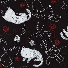 Knittin' Kitten on Black by Timeless Treasures Super Cute Cats, Timeless Treasures Fabric, Cat Sketch, Cat Fabric, Fabric Online, Printed Cotton, Cotton Fabric, Kitten, Kids Rugs