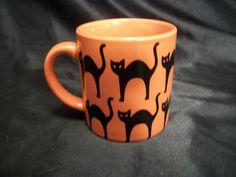 Halloween Art cup mug orange black cats party Coffee Tea Spooky Unlucky  #CrateBarrel