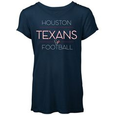 5th & Ocean Women's Houston Texans Rayon V T-Shirt ($32) ❤ liked on Polyvore featuring tops, t-shirts, navy, nfl tees, rayon tee, navy blue tee, viscose tops and blue top
