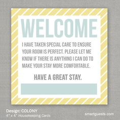 Housekeeping Cards Square - COLONY Design. Show guests how much you appreciate their stay. Allow your guest room team to express it with our beautifully designed Housekeeping Cards. 4″ x 4″, 14pt Premium Card Stock. Buy Here at www.smartguests.com