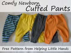 Pieces by Polly: Comfy Newborn Cuffed Pants - Free Printable Pattern.
