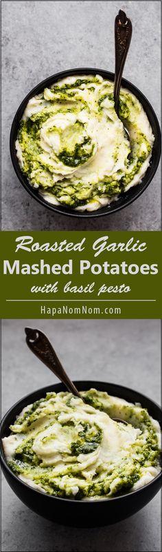 Super Creamy Roasted Garlic Mashed Potatoes with Basil Pesto - genius recipe from @hapanom