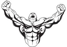 Illustration about Bodybuilder raises muscular arms and shouts. isolated on a white. Illustration of outline, huge, fitness - 41476087 Bodybuilding Logo, Best Bodybuilder, Long Distance Running, Gym Logo, A Beast, Muscular Men, Shoulder Workout, Train Hard, Metabolic Diet