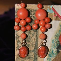 Antique Victorian Carved Orange Coral Bead Earrings With Carved Coral Cameo Drops