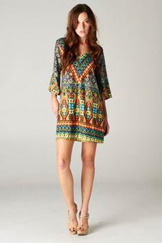 3/4 SL Multi Print dress by FashionistaLady on Etsy, $50.00