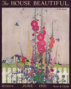 June 1921 Magazine Cover — Hollyhocks by Henry George Brandt.