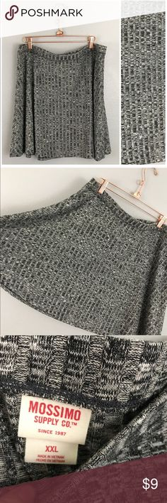 """Ossimo Gray Ribbed Stretch Skater Fall Skirt Ossimo Gray Ribbed Stretch Skater Fall Skirt. Size XXL. Thank you for looking at my listing. Please feel free to comment with any questions (no trades/modeling).  •Waist: 37""""-40"""" •Length: 18.5"""" •Condition:  NWOT  25% off all Bundles or 3+ items! Reasonable offers welcome. Mossimo Supply Co. Skirts Mini"""