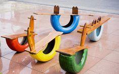 juguetes con neumáticos reciclados                                                                                                                                                                                 Más Diy Playground, Preschool Playground, Backyard For Kids, Diy For Kids, Tire Art, Kindergarten Design, Tyres Recycle, Kids Play Area, Diy Toys