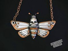 Silver and Copper Steampunk Death's Head Moth Necklace Made of Polymer Clay by SiouxsieSixxCreation