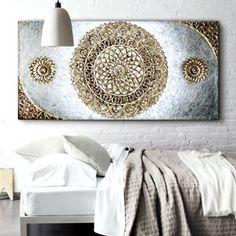 ESTUDIO DELIER   Cuadro Mandala plata, oro 150x80 Mandala Canvas, Mandala Art, Creative Walls, Stencil Diy, Canvas Crafts, Mandala Pattern, Dot Painting, Canvas Artwork, Resin Art