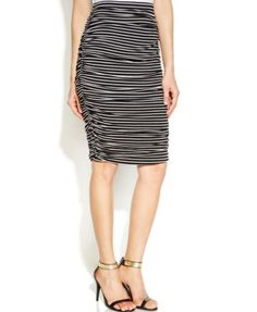 Vince Camuto Ruched Striped Tube Skirt
