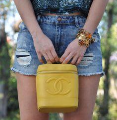 Vintage Chanel Bag #denim #shorts #sequins #ysl #chanel