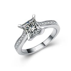 Princess Cut Cubic Zirconia Ring in Sterling Silver