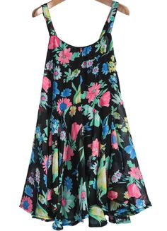 Black Spaghetti Strap Floral Pleated Chiffon Dress US$19.25