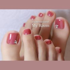 Autumn Transparent Wedding Bride Toe Nail Colors Peach Pink Stud Accent Nails – My CMS Fall Toe Nails, Pretty Toe Nails, Cute Toe Nails, Summer Toe Nails, My Nails, Fake Gel Nails, Toe Nail Color, Toe Nail Art, Nail Colors