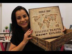 DIY | Faça Você Mesmo | Caixa com Stencil Mapa | Livia Fiorelli | Life Artesanato - YouTube