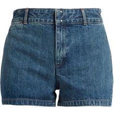 A.P.C. Mini cotton-denim shorts ($114) ❤ liked on Polyvore featuring shorts, loose shorts, loose short shorts, low rise shorts, short shorts and hot short shorts