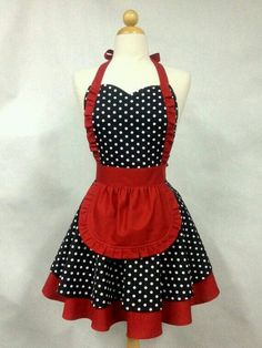 Apron French Maid Polka Dot with Red Double Circle Skirt image 0 Vintage Pirate Tattoo, Cute Aprons, Apron Designs, French Maid, Sewing Aprons, Aprons Vintage, Vintage Sewing, Creation Couture, Kitchen Aprons