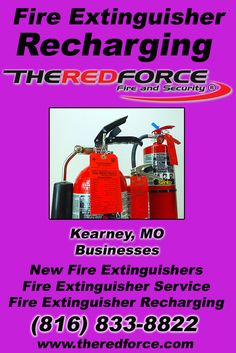 Fire Extinguisher Recharging Kearney, MO (816) 833-8822 Local Missouri Businesses Discover the Complete Fire Protection Source.  We're The Red Force Fire and Security.. Call us today!